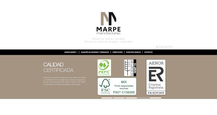 Manufacturas Marpe webgune berria