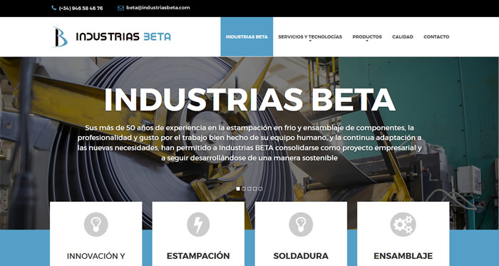 Página web Industrias Beta